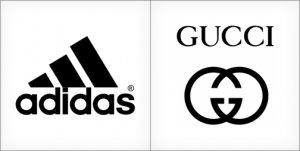 Adidas logo design, Gucci logo design, black colored color logo
