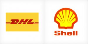 DHL logo, Shell logo, yellow logos