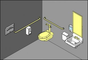 Figure of toilet room with altered elements highlighted: bathroom, grab pubs, faucet controls, and mirror.