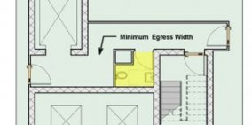 Floor program reveals toilet area constrained in size by corridor./ min. egress width, stair tower, and elevator and cargo elevator shafts