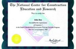 first NCCER certificate