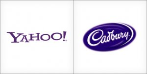 Yahoo logo design, Cadbury logo design, purple logos